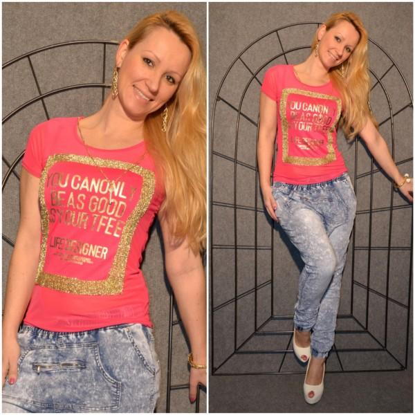 LIFE DESIGNER Shirt mit goldenem print PINK