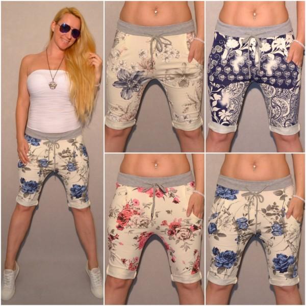 Italy Jersey BERMUDA Shorts mit BLUMEN print