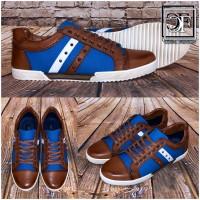 HERREN Schuhe Sportschuhe Sneakers mit Nieten & Kunstleder blau weiß braun