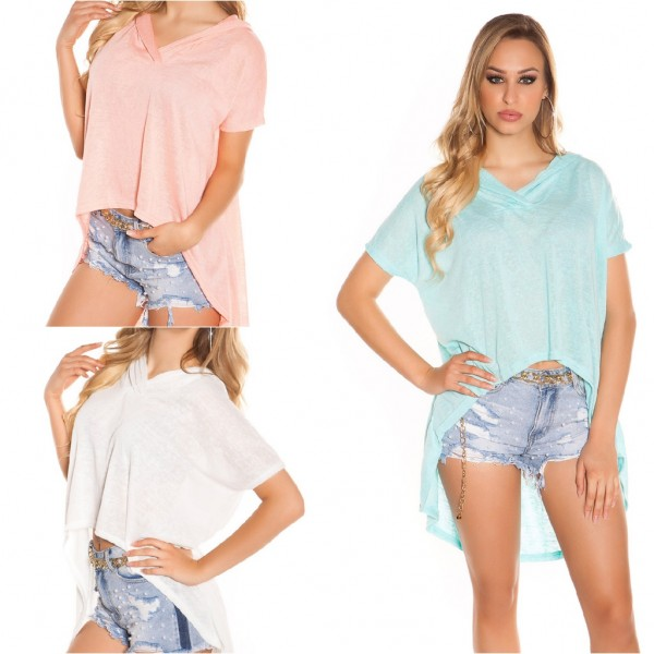 Cooles Damen Vokuhila Oversize Shirt mit Kapuze