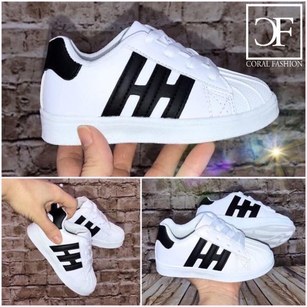 Flache KINDER Low Cut STRIPE Sportschuhe / Sneakers WEISS / Schwarz