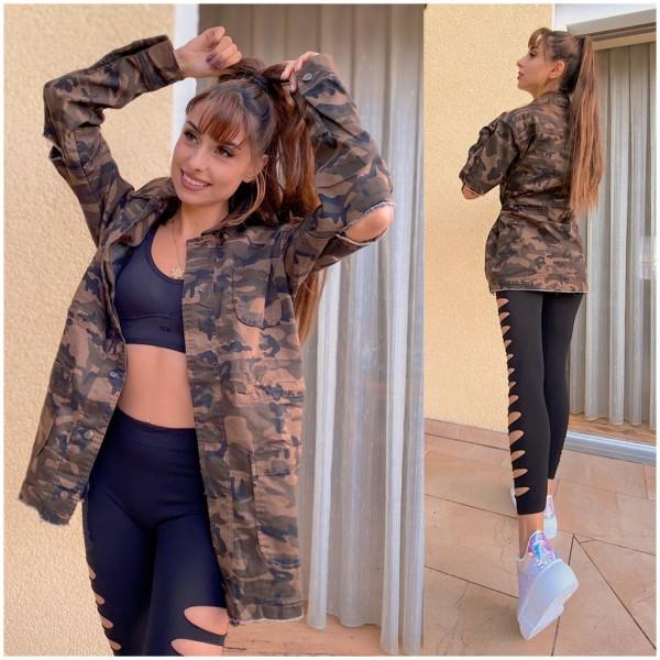 Damen CAMOUFLAGE Military Army Denim Jeans Look Jacke mit Druckknöpfen @yasminfee