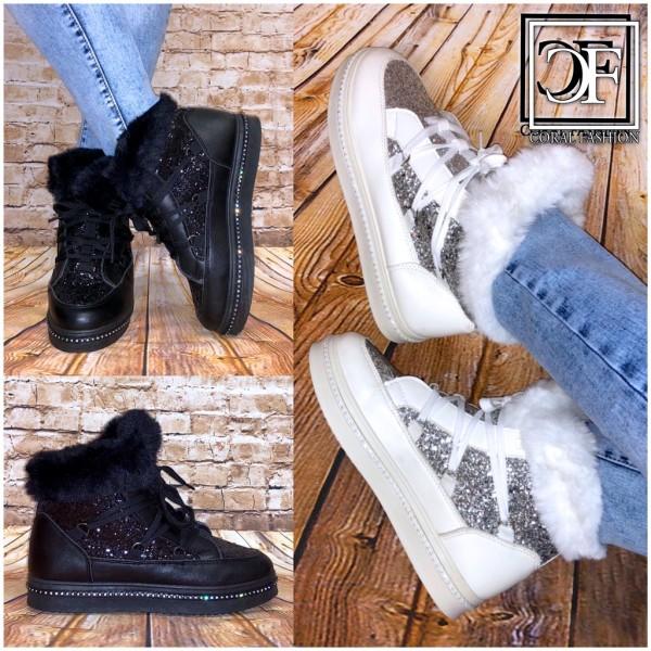 FASHION Glitzer gefütterte Damen Stiefeletten Boots Warm Sneakers Schnür WINTER mit 8OXPkZN0wn