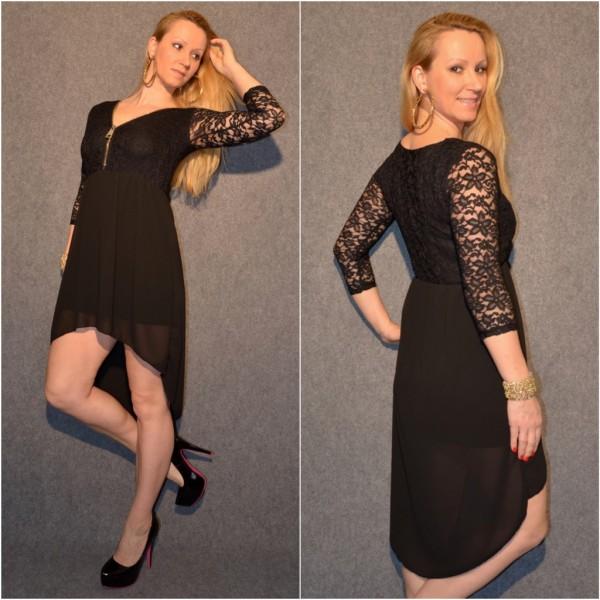Doppellagiges VOKUHILA Kleid mit Zipp beim Ausschnitt SCHWARZ