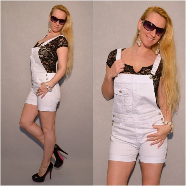 Coole stretch JEANS Latz Shorts / Overall WEISS