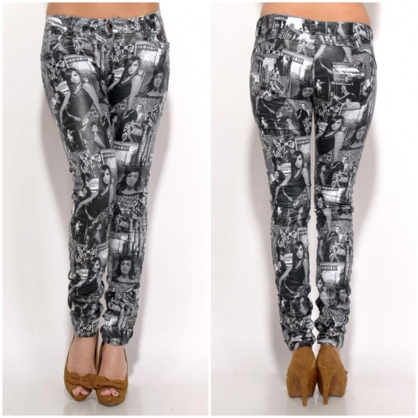 Fashion stretch JEANS black & white SEXY LADY print