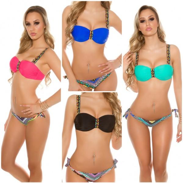 Sexy Damen Balconette Bikini Set in Boho Look mit breiten Trägern (Größen beachten1)