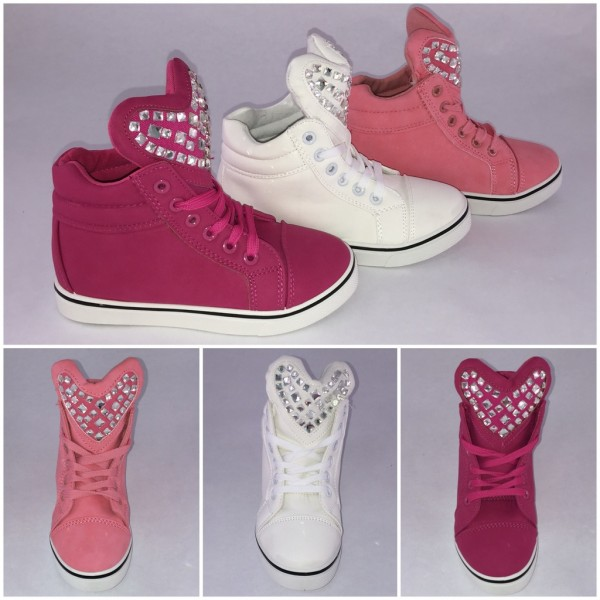 Flache BLING BLING Sneakers mit HERZ aus Strass