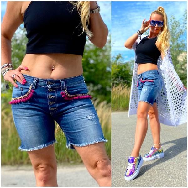 Italy Damen Denim stretch JEANS Shorts Hose in Boho Look Blau / Marke PLEASE Fashion
