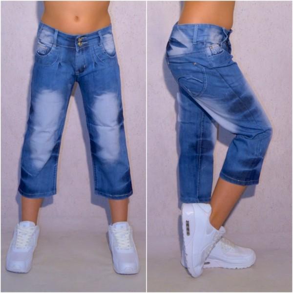 Fashion Mädchen Kinder stretch Denim Jeans 3/4 Capri Shorts in Batik Look mit Gürtel Blau
