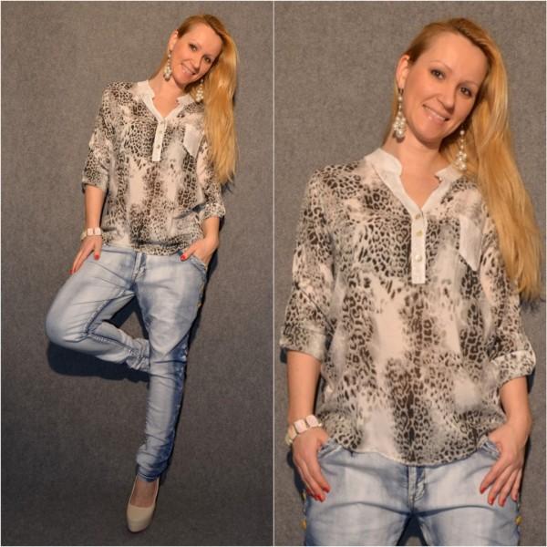 Leichte Bluse mit LEO Muster & Pailletten