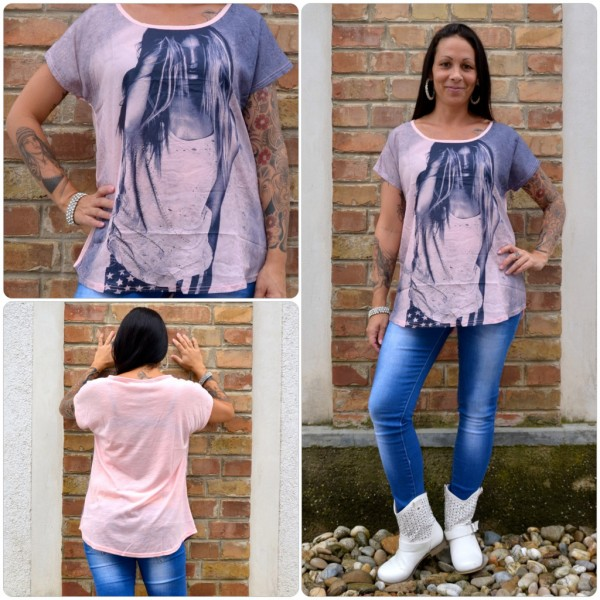 Stylisches Shirt Modell: LADY Haare ROSA