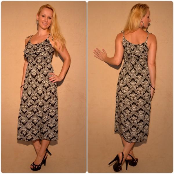Halblanges Kleid mit sommerlichem Muster SCHWARZ / WEISS