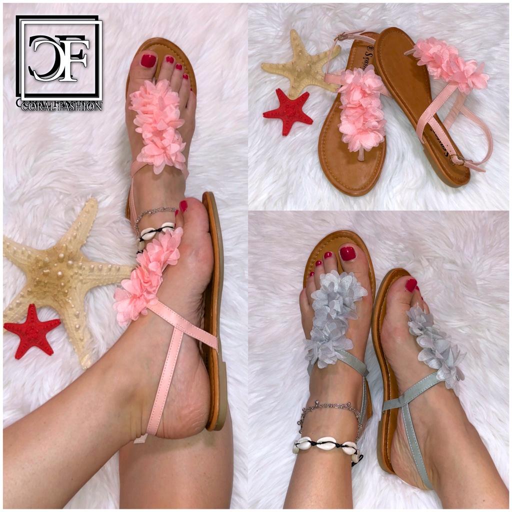 Damen Zehentrenner Sandalen Sandaletten mit BLUMEN in 2 Farben
