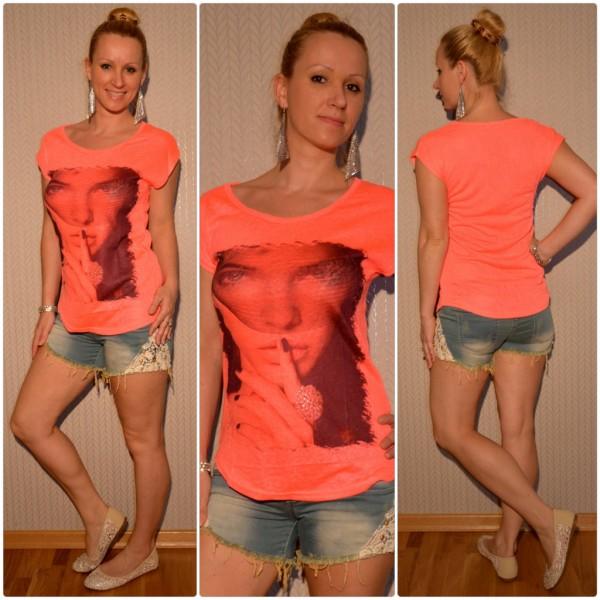 Stylisches Shirt Modell: Schleier LADY mit Ring LACHS