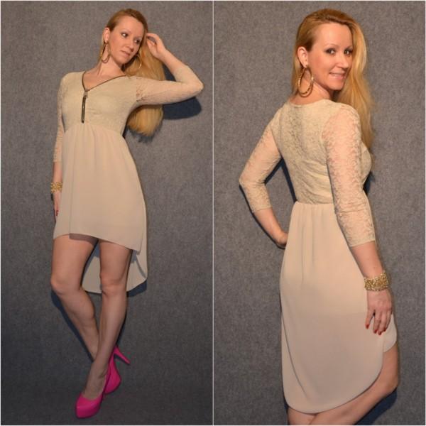 Doppellagiges VOKUHILA Kleid mit Zipp beim Ausschnitt BEIGE