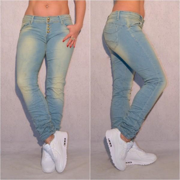 Übergrößen Oversize Damen Fashion stretch Denim JEANS Hose mit Knöpfen Hellblau Große Größen