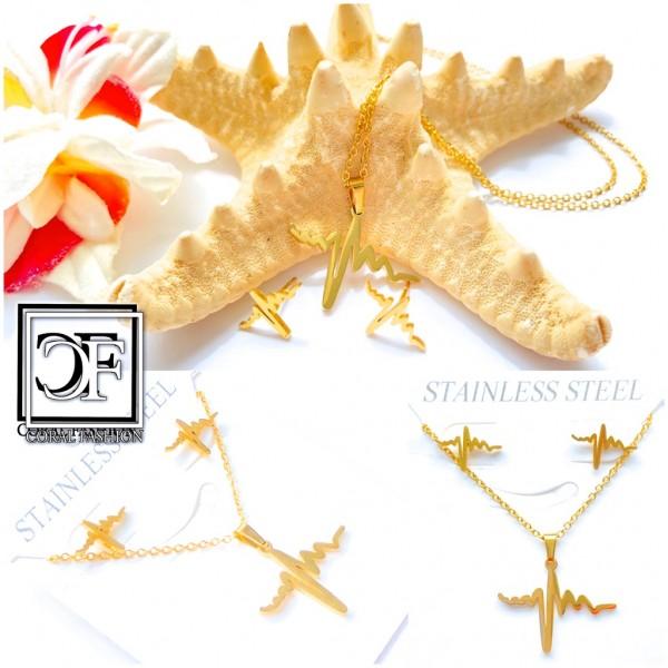 Fashion Edelstahl Stainless Steel Schmuck Set Ohrringe Anhänger Kette Gold + GRATIS Schmuckbox
