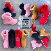 Herbst / Winter Damen High Cut Kunstleder Schnürboots Boots Stiefel mit Kunstfell gefüttert 4 Farben