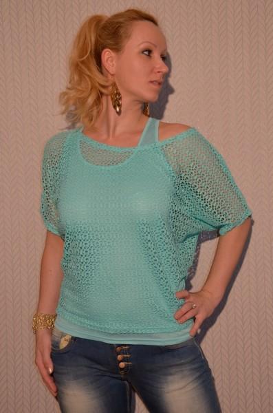 2 teiliges Kurzarm NETZ Shirt TÜRKIS