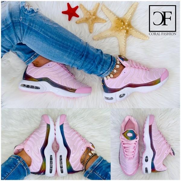 Damen Zebra Double LUFT Sportschuhe / Sneakers Rainbow ROSA