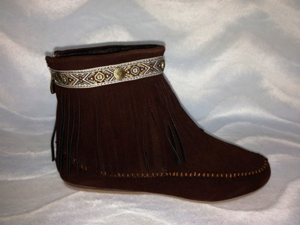 INDIAN Style Fransen Boots / gefüttert BRAUN