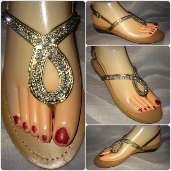 Zehentrenner Sandaletten mit Strass GOLD