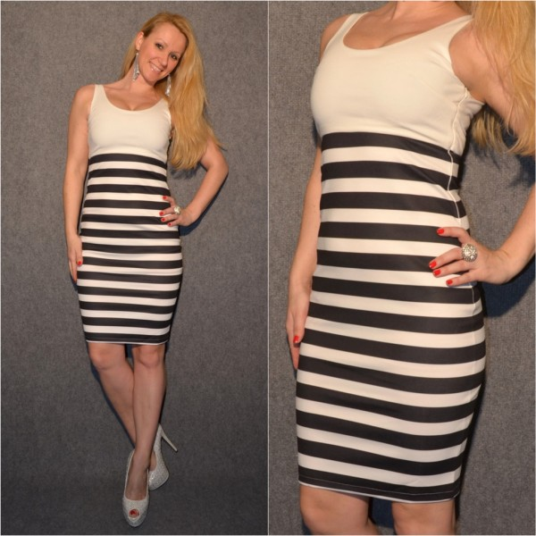 Sexy STIFT KLEID in Matrosen Look WEISS gestreift