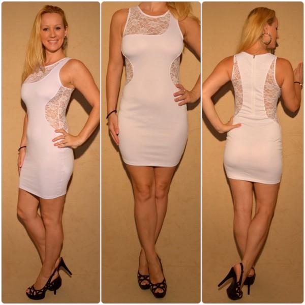Mini Kleid mit Spitzeneinsätzen WEISS