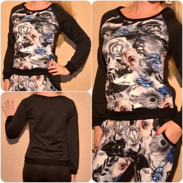 Pullover mit BLUMEN Print ROSA / SCHWARZ