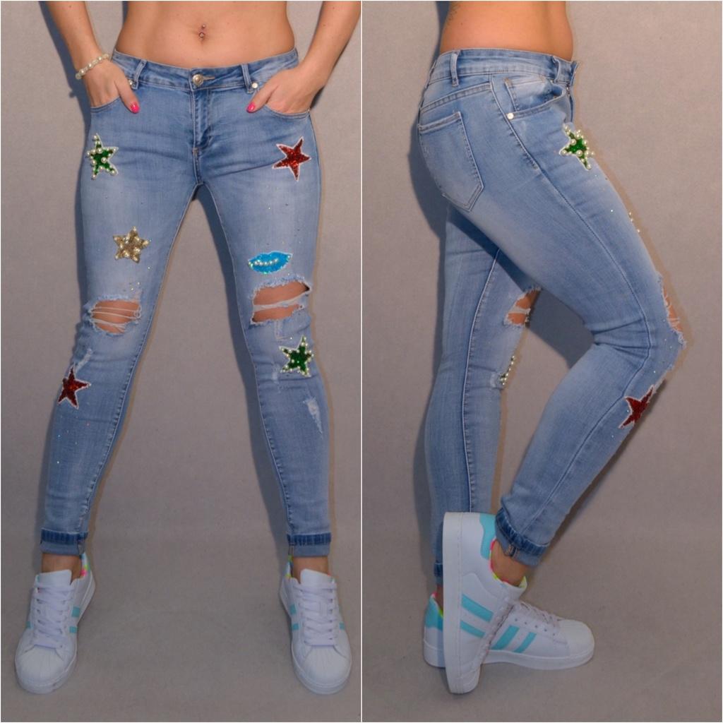 Stretch Fashion destroyed JEANS mit COLOR STARS   Pailetten   Perlen   Jeans    Damenmode   Mode   Coral Fashion d5cdb21a9b