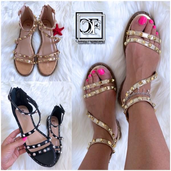 Damen Riemchen Sandalen Sandaletten mit NIETEN besetzt in 3 Farben