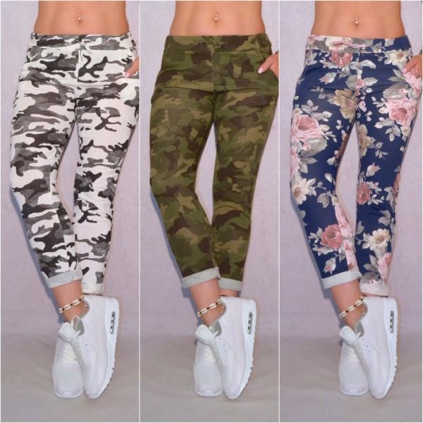 Damen Jersey Freizeithose Hose mit Blumen Camouflage Muster ITALY FASHION Trend