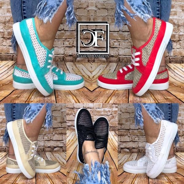 Damen Lowcut NET Netz Denim Sneakers Sportschuhe mit Lochmuster