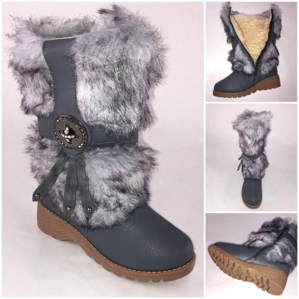ANGEBOT* Super warme winter BOOTS / Stiefel mit Kunstfell gefüttert GRAU