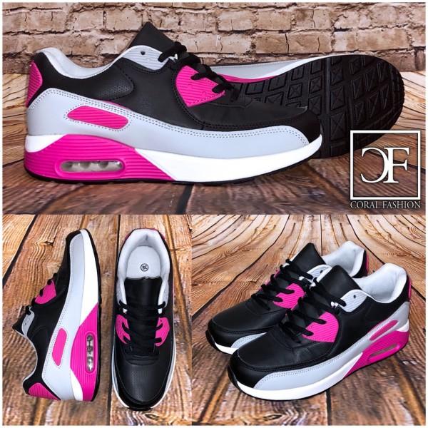 Bequeme Damen LUFT Sportschuhe / Sneakers schwarz / grau / pink